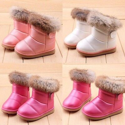 Girls Kids Winter Warm Ankle Booties Child Leather Rabbit Fur Shoes Snow Boots