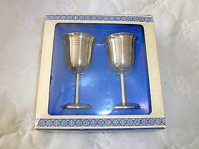 One Pair Of Stainless Steel Vintage Goblets