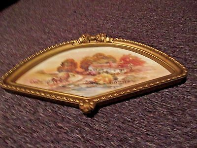 Home Interiors VINTAGE HOMCO Fan Shape Autumn Fall Picture  Country 1984