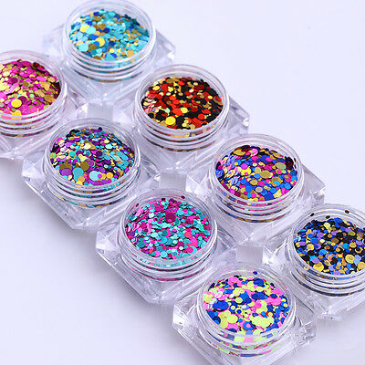 2g Nail Glitter Sequins Round Flakies Paillette Colorful Mixed Size BORN PRETTY