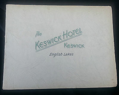 Old Advertising Brochure THE KESWICK HOTEL English Lakes Derwentwater Prices Map