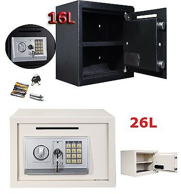 Black White Digital Electronic Steel Safe Security Home Office Money Safety Box