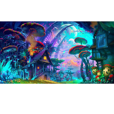 Psychedelic Mushroom Town Art Print Fabric Silk Poster Wall Home Decor 24x36inch