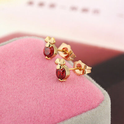 Cute Children S 14k Gold Filled Ruby Rhinestone Clover Small Stud Earrings