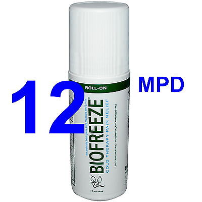 Case Of 12 Brand New Biofreeze Roll-On Pain Relieving 5% Roll On 3 Oz
