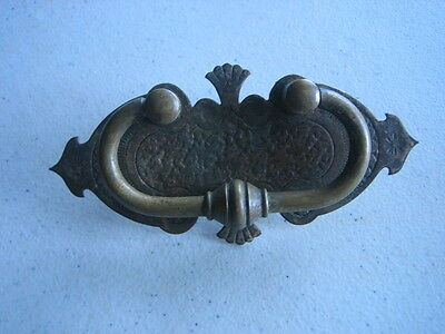 Antique Vtg  Brass Or Bronze Victorian Ornate Drawer Pull