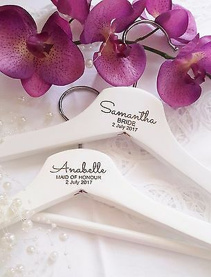 Personalised Engraved White Wooden Coat Hangers Bride Bridesmaid Wedding Gift