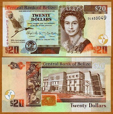 Belize, 20 Dollars, 2012, QEII, P-72, UNC > First Commemorative