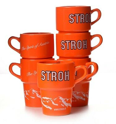 Stroh Tasse Orange 6 originale Rum Tassen 0,25 l