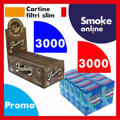 3000 CARTINE SMOKING BROWN CORTE MARRONI  e 3000 FILTRI RIZLA SLIM 6 mm
