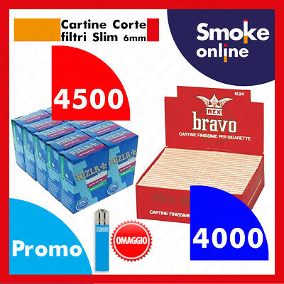 4000 CARTINE CORTE BRAVO REX REGULAR FINISSIME e 4500 FILTRI RIZLA SLIM 6 mm