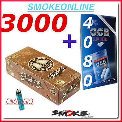 3000 CARTINE SMOKING BROWN CORTE MARRONI  + 4080 FILTRI OCB SLIM 6 mm
