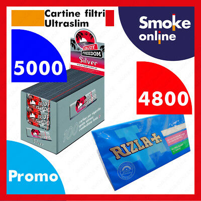 4800 Cartine ENJOY FREEDOM SILVER CORTE e 4800 Filtri RIZLA ULTRASLIM 5,7 mm