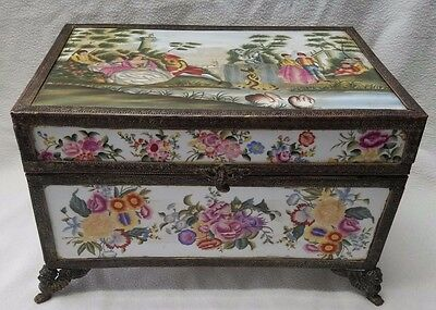 Antique Sevres Bronze Ormolu Mount Big Jewelry Box (Lined Fabric with Cushion).