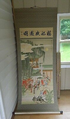 "Vintage Chinese Water Color Painting Scroll Wedding Party Procession 80 ""x 301/2"