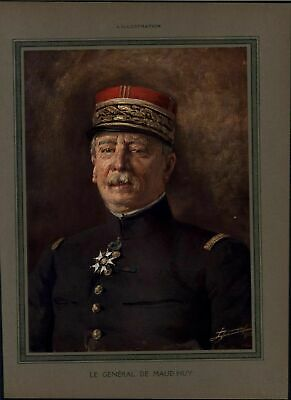 General Maud'huy First Chief Scout World War I vintage 1915 color portrait print