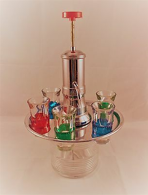 Vintage Art Deco Style Carousel Liquor Dispenser with Colored Shot Glasses