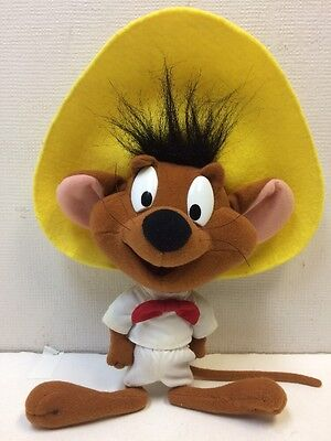 """1994 Tyco Playtime Looney Tunes Plush Speedy Gonzales Toy Mouse Yellow Hat  8"""""""