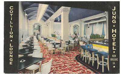 NEW ORLEANS THE JUNG HOTEL and COTILLION LOUNGE 1946 VINTAGE POSTCARD (4)
