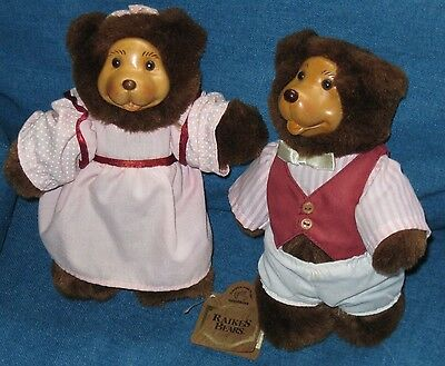 "Pair Robert Raikes Bears George & Gracie Applause Stuffed 8"" Teddy Boy & Girl"