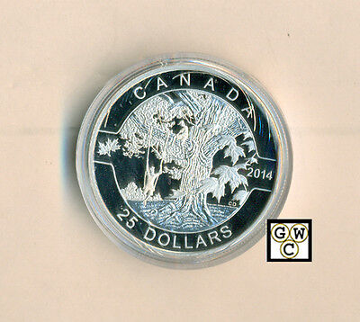 2014 'Under the Maple Tree-O Canada' Proof $25 Silver Coin .9999 Fine(13911)OOAK