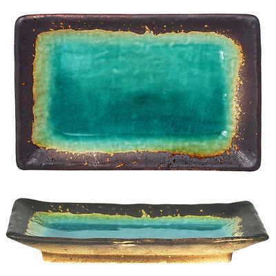 """Japanese 8.5"""" x 5.5"""" Ceramic Green Turquoise Rust Crackle Sushi Serving Plate"""