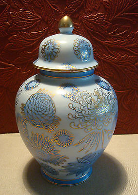 Andrea by Sadek Blue Ginger Jar with Lid Hand Painted Floral Chrysanthemum Japan