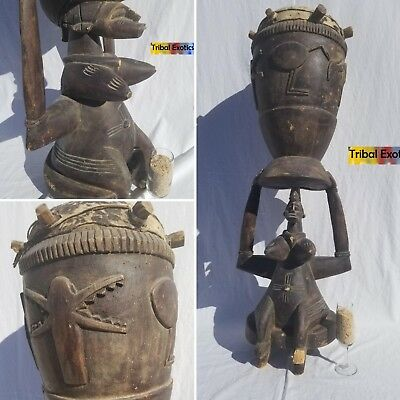 PREMIUM tribal fine African Art - Senufo Drum Figure Sculpture Statue Mask