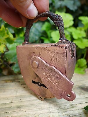 Antique Vintage Brass Padlock Rust, No Key Hobby, Collector Sold How You See
