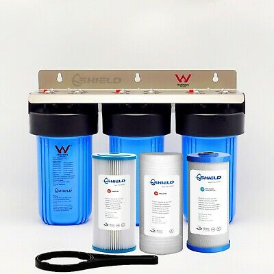 """Whole House Water Filter System 10"""" x 4.5"""" 3 Stages Triple Big Blue Washable"""