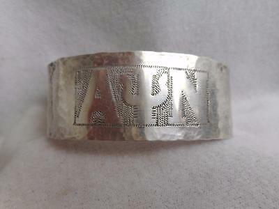 "Antique Arts & Craft Hm Sterling Silver  Alpha Psi Nu Greek 1"" Cuff Bracelet"