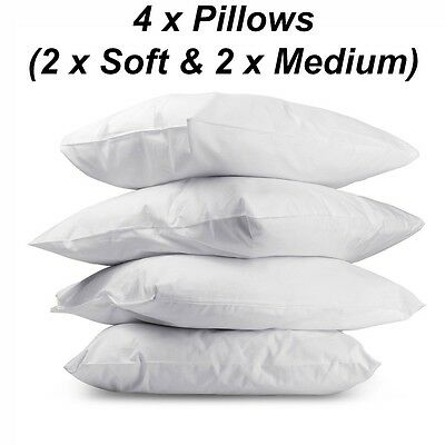 NEW Family 4 Pack Bed Pillows Soft Medium Cotton Cover Sleep Pillows Hotel Home