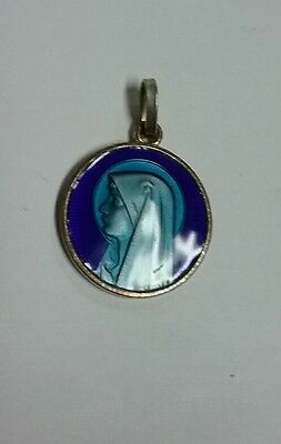 """Vintage Christian Mother Mary Medal Royal Blue Brass Pendant Charm 3/4"""" 19MM Dia"""