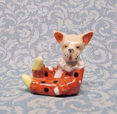 Antique Porcelain Circus dog figurine Chihuahua in polka dot outift MIJ UNUSUAL