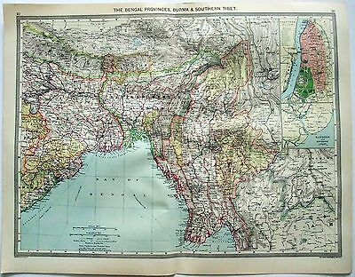 Original Map of The Bengal Provinces & Burma c1907 by George Philip & Son. India