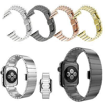 Butterfly Lock Link Bracelet Band Stainless Steel For Apple Watch Series 2 &1