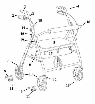 Drive Replacement Parts for Bariatric Rollator Model 10216 (10216BL & 10216RD)