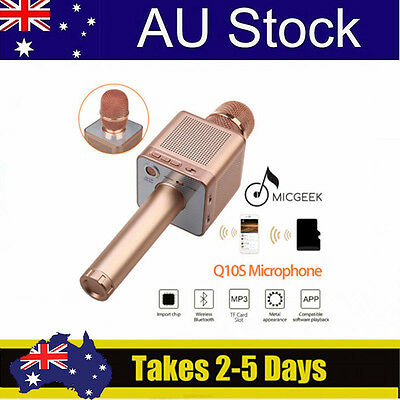 Handheld Rose Gold MicGeek Q10S Wireless Bluetooth KTV Microphone Multi-Function
