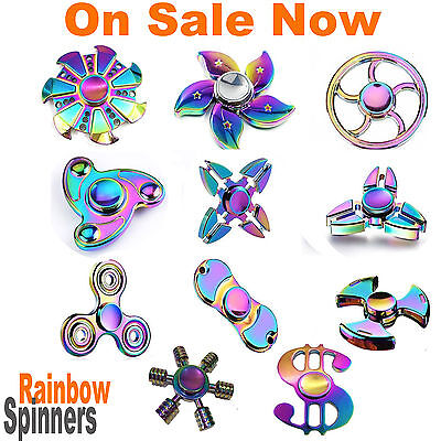 Fidget Hand Finger Spinner EDC Focus Stress Reliever Toys Kids Adults Rainbow AU
