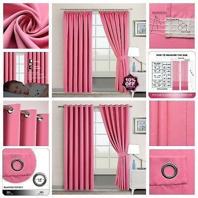 Ring Top-Eyelet Or Pencil Pleat Ready Made Thermal Super Soft Blackout Curtains