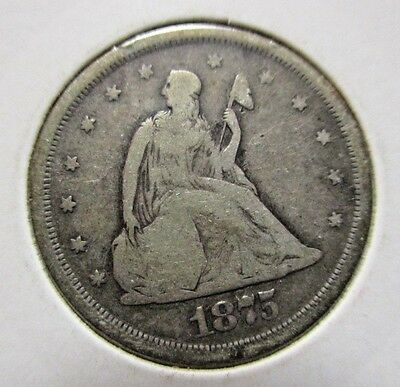 1875 S Seated Liberty 20 Twenty Cent Silver Coin