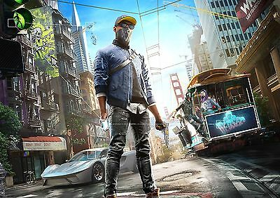 Watch Dogs 2 Poster Hit Open World Game New Xbox PS4, FREE P+P, CHOOSE YOUR SIZE