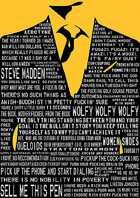 The Wolf of Wall Street Poster Di Caprio Typography new FREE P+P, CHOOSE UR SIZE