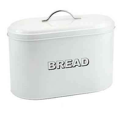 White Oval Shaped Metal Bread Loaf Roll Storage Bin Tin Kitchen Food Container