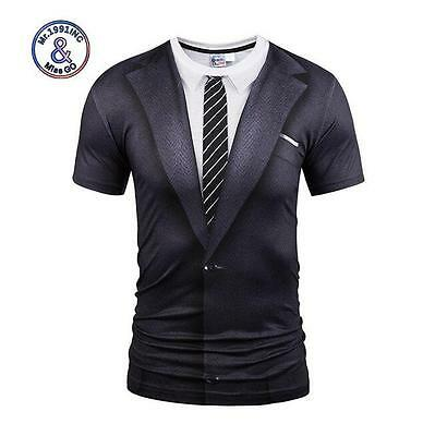 Fashion Men's Summer 3D Print Formal Wear Casual Short Sleeve Round Neck T-Shirt