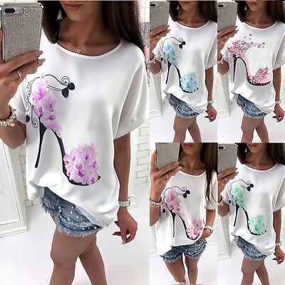 UK Womens Short Sleeve Tops Summer Beach Ladies Casual Loose Blouse Top T Shirt