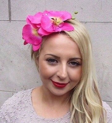 Large Hot Pink Gold Orchid Flower Fascinator Headpiece Headband Gold Hair 3270