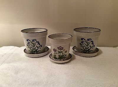 Set Of 3 Vintage Ceramic Flower Pots - Made In Japan