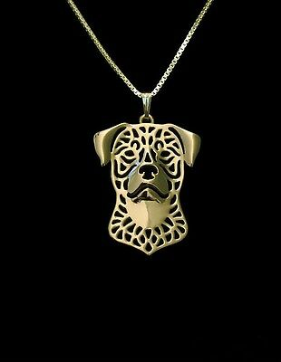 Rottweiler Dog Pendant Necklace Gold ANIMAL RESCUE DONATION