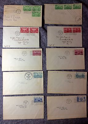 COMPLETE SET 10 GREATEST ARMY-NAVY WAR HEROES 1936-37  FIRST DAY COVERs #fdc245